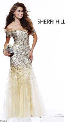 Beaded Off-The-Shoulder Gold Evening Gown $518