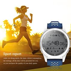 Smart Watches Sunsbell Bluetooth Smart Watch for Android/Iphone, Waterproof Fitness Tracker Watch Camera Pedometer Anti-Lost Watch Altimeter Barometer (Blue & White)   12 Months Warranty!! Whether it's your first SUNSBELL purchase or you're back for more, rest assured that we're in this together: All SUNSBEL