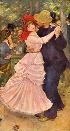 Dance at Bougival, 1882-1883 • Pierre-Auguste Renoir -- When I first saw this painting back in the 70's, that man's hat was back in style, making the painting even more relevant to my young teenage mind.
