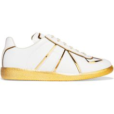 Maison Margiela - Metallic-trimmed Leather Sneakers (16.620 RUB) via Polyvore featuring shoes, sneakers, white, maison margiela shoes, white shoes, leather lace up sneakers, leather trainers и maison margiela sneakers