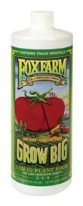 FoxFarm FX14006 1-Quart FoxFarm Grow Big Liquid Concentrate 6-4-4 by Fox Farm. Save 56 Off!. $21.87. Comprehensive blend of major, minor, and micro nutrients. Grow big is an organic based concentrate. Available in 1-quart. Contains 6-percent nitrogen, 4-percent phosphorus and 4-percent potassium. Great for roses, tomatoes, veggies, flowers, fruits, herbs and lawns. Grow big is an organic based concentrate. It is a comprehensive blend of major, minor and micro nutrients. For...