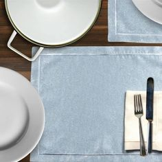Comes in sets of 2 - Set includes Placemat and Napkin woven in France Placemats = 38 x 50 cm Napkin = 40 x 40 cm Bath Table, French Fabric, Lunches And Dinners, Table Linens, Luxury Homes, Tableware, Fashion Statements, Dinner Parties, Blue