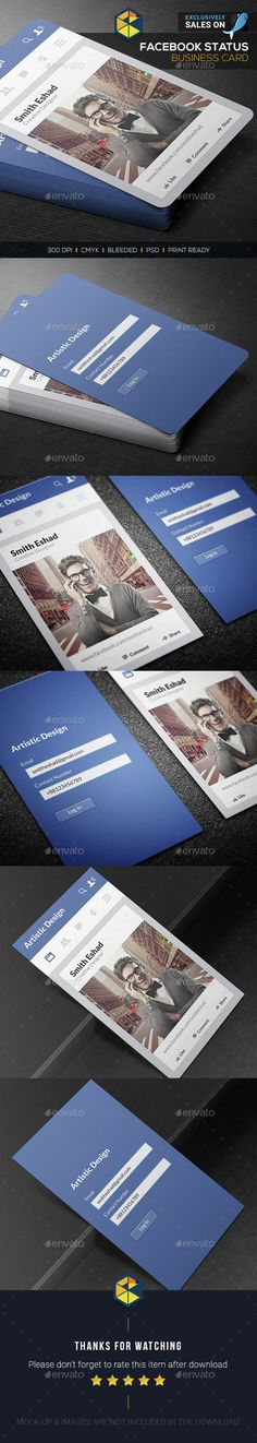 Facebook Status Business Card Template PSD. Download here: http://graphicriver.net/item/facebook-status-business-card/15456588?ref=ksioks