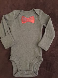 Infant Boy Onesie with Bowtie Applique by MarysCottonShoppe on Etsy