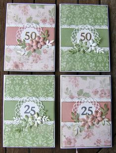 4 anniversary cards in sweet pink and soothing green Wedding Anniversary Cards, Wedding Cards, Anniversary Ideas, Wedding Gifts, Birthday Cards For Women, Paper Cards, Foil Paper, Engagement Cards, Marianne Design