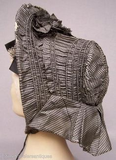 Drawn silk bonnet in checked silk. Victorian Hats, Victorian Fashion, Vintage Fashion, Silk Bonnet, War Bonnet, Civil War Fashion, 1800s Fashion, Antique Clothing, Historical Clothing