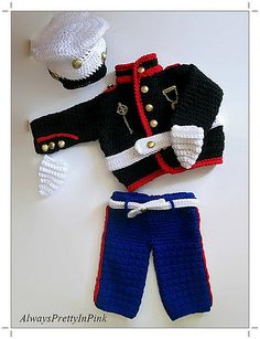 This is PDF pattern for a baby 0-3 month size marine outfit. Directions are for jacket, pants, hat and mitts. Easy to follow instructions with tutorials for stitches that you may not be sure of. Great outfit for those first time prop pics.