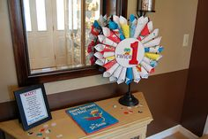 Dr. Seuss party decoration ideas. (Have all the kids write their names in a copy of Happy Birthday to You?)