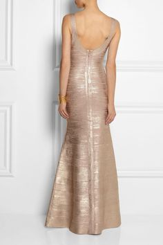 White and Gold Wedding. Gold Bridesmaid Dress. Soft and Romantic. Hervé Léger | Ellen metallic bandage gown | Back view