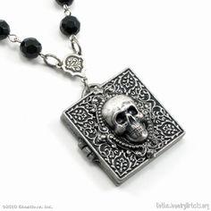 Gothic Jewelry - Skull Locket Rosary Necklace - GothicJewelryArtists ...