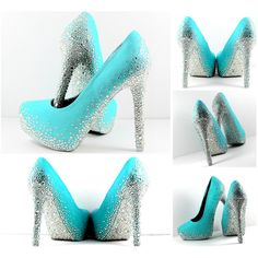 Aqua Blue Heels With All Swarovski Crystal Soles (Can Be Custom Made... ($300) ❤ liked on Polyvore featuring shoes, pumps, red, crystal shoes, red pumps, bride shoes, red shoes and aqua pumps
