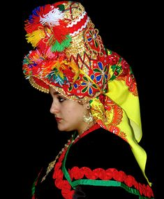 hat front - ethnic jewels basket headdress with felt application and buttons early c from Montehermosa Spain. Regional, Kids Study, Spain And Portugal, Headgear, Traditional Dresses, Headdress, Ethnic, Captain Hat, Spanish