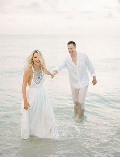 Beach Engagement + pretty white maxi. Discover how Vênsette can craft custom beauty looks for your engagement photos: http://vensette.com/bridal_inquiries