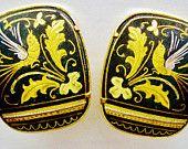 1950s Damascene Earrings Spanish Style Jewelry Gold Flower Clip On Bird Jewelry Flower Jewelry Vintage Jewelry