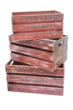 Rustic Organization Tools  3 Nested Wood Crates - Red