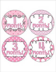 Pink Monthly Baby Girl Stickers Pink Month to by MoonLitPrintables
