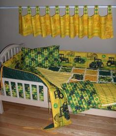 john deere fabric   Baby-Boy-JOHN-DEERE-Fabric-Crib-Bedding-SET-Rag-Quilt-Nursery-TRACTORS ...