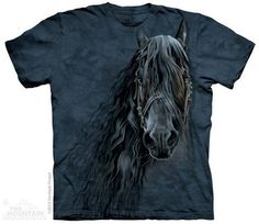 This gorgeous t-shirt features a handsome Friesian peering out at you in this black-on-midnight blue design. You can immediately sense the majesty in this powe