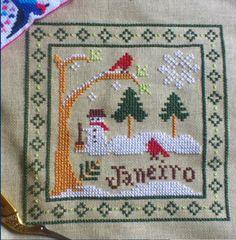 Little House Needleworks Monthly Sampler January Cross Stitch Ponto Cruz