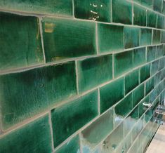 Forest green subway backsplash tiles