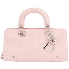Pre-owned Dior Lady Dior Leather Mini Bag (€1.610) ❤ liked on Polyvore featuring bags, handbags, pink, women bags handbags, pink purse, light pink leather purse, light pink purse, pink handbags and pink leather purse
