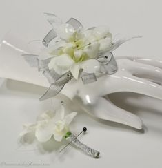 Wedding corsages from Brighton, Colorado's top rated wedding florist. Wedding corsages for every budget. We make your wedding dream corsage come alive. Orchid Boutonniere, Prom Corsage And Boutonniere, Corsage Wedding, Wrist Corsage, Boutonnieres, Prom Flowers, Wedding Flowers, Homecoming Corsage, Homecoming Dance