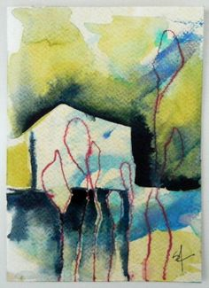 Abstract organic nature Original watercolor by AbstractionbyStacey, $20.00
