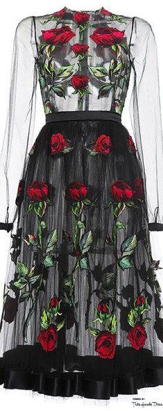 Dolce & Gabbana Fall 2015 Black Rose Embroidered Full Skirt Tulle Dress ♔THD♔