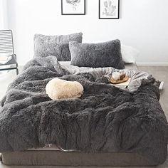 Pure Color Mink Velvet Bedding Sets wool Fleece - Bed and Bedcover Fluffy Bedding, Grey Bedding, Fur Bedding, Sheets Bedding, Bedding For Men, Neutral Bedding, Boho Bedding, Gray Bed Set, Velvet Bedding Sets