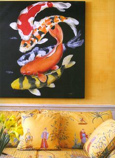 A stack of koi fish complements Chinoiserie upholstery,  Dorothy Draper & Co. - Projects