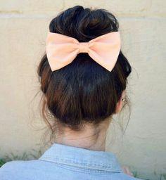 Peach bow under bun