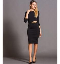 a88f9737c3a0 Pencil Μίντι Φόρεμα με Cut Out και Χρυσές Λεπτομέρειες - Μαύρο Φωτογραφία  Μόδας