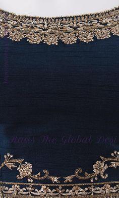 YELLOW LEHENGA CHOLI ONLINE – Raas The Global Desi Hand Embroidery Dress, Kurti Embroidery Design, Embroidery Neck Designs, Bead Embroidery Patterns, Hand Embroidery Tutorial, Embroidery On Clothes, Embroidery Fashion, Beaded Embroidery, Simple Kurta Designs