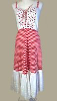 1960 Candy Jones styled red GINGHAM FLARE SUMMER DRESS roses embroidered bust