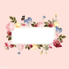 Blank floral frame card illustration | free image by rawpixel.com Framed Wallpaper, Flower Background Wallpaper, Flower Backgrounds, Background Patterns, Backgrounds Free, Frame Floral, Flower Frame, Butterfly Watercolor, Floral Watercolor