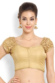 Soch Gold-Toned Cut Work Tissue Saree Blouse - SAZR BLZ 20004