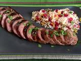 Grilled Pork Tenderloin recipe from Alton Brown via Food Network. TW: The cooking technique made for a perfect pork. (Havent tried the marinade yet, but would like to. Pork Tenderloin Recipes, Pork Recipes, Cooking Recipes, Pork Loin, Pork Roast, Cooking Tips, Grilling Recipes, Cooking Pork, Pork Fillet