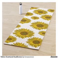 Yellow Scattered Sunflowers Yoga Mat The cheerful Yellow Scattered Sunflowers Yoga Mat makes a great gift idea for your favorite yogi. This flowery custom yoga mat features yellow sunflower blossoms with a white background. Sunflower Gifts, Yellow Sunflower, Types Of Yoga, Yoga Gifts, Best Yoga, White Elephant Gifts, Sunflowers, Blossoms, Workout