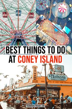 THINGS TO DO AT CONEY ISLAND | Coney Island amusement park | Coney Island aesthetic | Coney Island photography | Nathans famous coney island | wonder wheel coney island | luna park coney island | Coney Island beach | what to do at Coney Island | things to do in Brooklyn | things to do in NYC | Coney Island instagram | coney island rides | Brooklyn beaches | coney island boardwalk | riegelmann boardwalk coney island | coney island trip #coneyisland #nyc #brooklyn #wonderwheel #bucketlist Travel Advice, Travel Guides, Travel Tips, Brooklyn Things To Do, North America Destinations, Travel Destinations, Coney Island Amusement Park, New York City Travel, Ultimate Travel