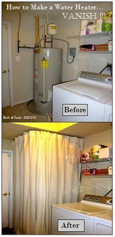 How to Make an UGLY Water Heater Disappear! RE/MAX Realtor's DIY Tip -Using IKEA Kvartal Curtain Rods Installed on Ceiling of Laundry Room -Total Cost was Less than $100 #BethandSusie.com #BeforeandAfter #Laundry