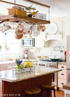 Feature Friday: Golden Boys and Me - Southern Hospitality Kitchen Island Pot Rack, Kitchen Island Ikea Hack, Painted Kitchen Island, Kitchen Paint, Kitchen Decor, Painted Island, Kitchen Ideas, Country Cottage Interiors, Diy Mantel