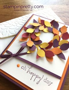 Happiest of Days Stamp Set & Leaf Punch Fall Card. Read more https://stampinpretty.com/2017/09/im-lovin-the-stampin-up-leaf-punch.html