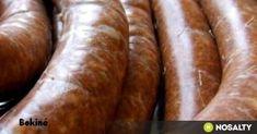 Házilag készített kolbász recept képpel. Hozzávalók és az elkészítés részletes leírása. A házilag készített kolbász elkészítési ideje: 180 perc Sausage Recipes, Cooking Recipes, Hungarian Recipes, Hungarian Food, Smoking Meat, The Cure, Bacon, Homemade, Drinks