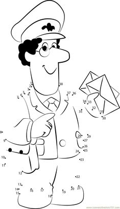 Postman Pat Connect The Dots Worksheet Preschool Worksheets, Printable Worksheets, Preschool Activities, Community Helpers Crafts, Tayo The Little Bus, Postman Pat, Post Office, My Drawings, Connect The Dots