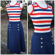 Vintage ribbed striped tank top red white by Goodie2ShoesShoppe