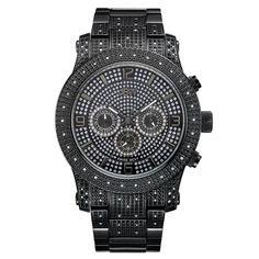 JBW Men's J6336A Lynx .80 ctw Black Ion-Plated Stainless Steel Diamond Watch