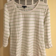 GAP Comfy boatneck 3/4 length striped t Green stripes, button detail on sleeve GAP Tops Tees - Long Sleeve