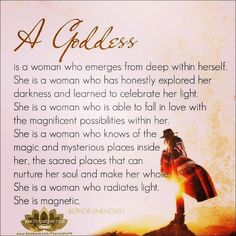 What is a radiant goddess? She is: A women who is in the process of learning of to know accept and love herself on all levels Mind Body and Spirit A women who because she focuses on personal growth and self awareness experiences life increasingly filled with peace love joy passion fun and courage. A women who understands that she has an unlimited capacity to make her life anything she wants. A women who is inspired to give to those around her because of her sense of gratitude and abundance…