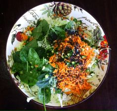 Simple salad: Cabbage, carrot, baby spinach leaves, green chilli, black sesame seeds, tahini, lemon juice, olive oil, s&p.