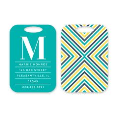 Arrow Personalized Luggage Tag by Peony Hill Press. These make great gifts for grads, dads, moms, newlyweds and more! #peonyhillpress #php #luggage #luggagetag #baggage #baggagetag #gift #newlywed #kid #grad #arrow #diagonal #stripes